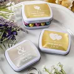 For your Golden 50th anniversary you can personalized these mint tins with gold lables and two lines of text. Add your own treats like M&Ms or mint candies. Very affordable.