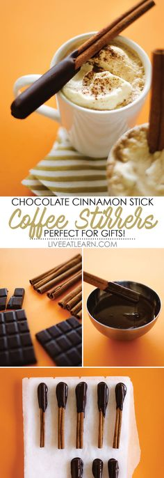 This Chocolate Cinnamon Stick Coffee Stirrers Recipe makes the perfect gift for friends and family this holiday season! Just dip cinnamon sticks in dark chocolate and gift with a bag of good coffee! Stir the stick into the coffee for a flavor-packed, decadent morning treat! // Live Eat Learn