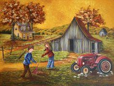 La corvée des couleurs Painted Milk Cans, Creation Photo, Perfect Peace, Cottage Art, Canadian Artists, The Good Old Days, Belle Photo, Oeuvre D'art, Art Lessons