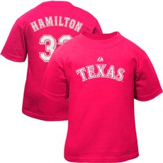Majestic Josh Hamilton Texas Rangers #32 Infant Girls Name & Number T-Shirt - Hot Pink - $12.99