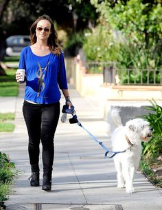 Prego gal Olivia Wilde, in her usual classic aviator sunnies, took her puppy pal for a walk with big smile strewn across her face!