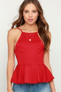 Say No More Red Peplum superior al Lulus.com! Blusas De Cetim 06f9d5eea0e