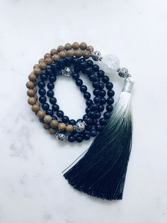 Blue Sandstone and Matte Crystal with Rose Quartz Mala Necklace
