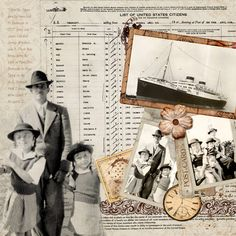 This interesting heritage travel digi page with it's shipboard photos and document background would work well for an immigration layout as well. Heritage Scrapbook Pages, Vintage Scrapbook, Disney Scrapbook, Scrapbook Quotes, Scrapbook Cards, Family History Book, Glue Book, Book Projects, Scrapbook Paper Crafts