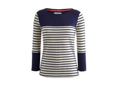 French navy block striped jersey top from Joules