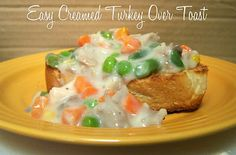 Easy Creamed Turkey Over Toast!    This delicious and hearty dish is a great way to use leftover turkey or chicken.   Made with simple ingredients you already have in your pantry.