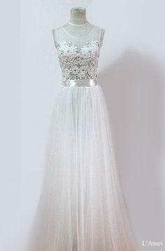 Affordable Long White Lace Wedding Bridal Dress. Also use by LAmei, $386.00