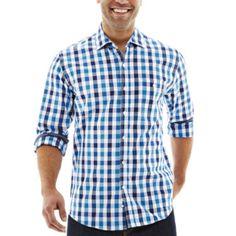 48342750 Michael Brandon Long Sleeve Large Grid Woven Roll Shirt - JCPenney