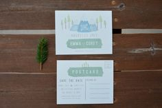 Mountain Wedding SAVE THE DATE Postcard Sample by CabinFeverCraft