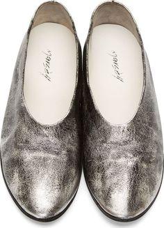 FLATS | Marsell Black & Silver Slip-on Metallic Ballerina Flats