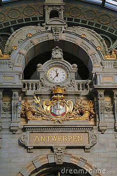 Clock In Antwerp, Belgium Train Station