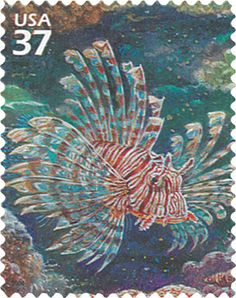 A lionfish stamp offered by the United States Postal Service. I hope some of the proceeds are going to lionfish population control.