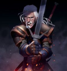 The Witcher Geralt of Rivia - Created by Max Grecke Witcher Art, Player Character, Character Design, Character Inspiration, The Witcher, Max Grecke, Character Design Animation, Art, Man Character