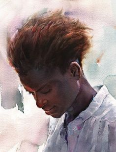 Misulbu, watercolor {contemporary figurative art female head woman face portrait cropped painting #naturalhair #loveart}