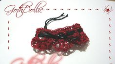 Victorian Goth Deep Red Black Crochet Ribbon tie by GothDollie, $12.99
