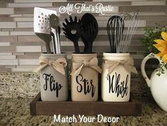 Kitchen Decor Decor diy Decor modern Decor on a budget Decor themes Decor wall Flip Stir Whisk Utensil Holder Mason Jar Decor Kitchen