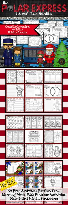 "This Polar Express packet will keep your students engaged and on the right ""track"" during the month of December!  Need a ""bell ringer""?  Your students are guaranteed to hear the sound with these no prep printables!  Perfect for Kagan Structures, RTI, Fast"