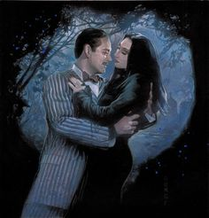 Raul Julia as Gomez and Anjelica Huston as Morticia, The Addams Family art by Nick Runge