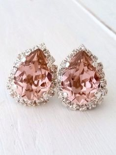 Blush earrings, blush pink stud earrings, Blush pink bridesmaid,bridal earrings,Swarovski earrings,crystal earring,Blush teardrop earring