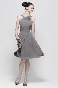 Gray Chiffon Halter Flower Knee Length A line Bridesmaid Dress (but in Navy)