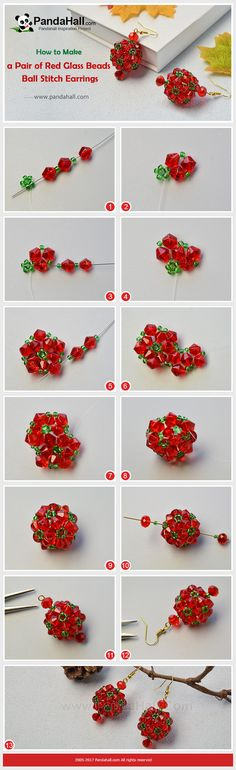 PandaHall Christmas Handcrafted Idea----Red GlassBeads Ball Stitch Earrings, #PandaHall #Christmas #Handcrafted #GlassBeads #Stitch #Earrings #diy #craft #tutorial #promotion