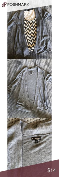 EXPRESS Grey Cardigan Sweater Good condition cardigan sweater from JCREW.  Great for at the office or more casual with a T-shirt and jeans!  (Tank styled with also available in my shop!) Express Sweaters Cardigans