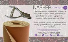 La nasher es una herramienta parecida a una perforadora de papel, pero especial para hacer aplomos, piquetes o muescas en los patrones y plantillas. Conoce más acerca de todas las herramientas de costura en nuestro sitio web.