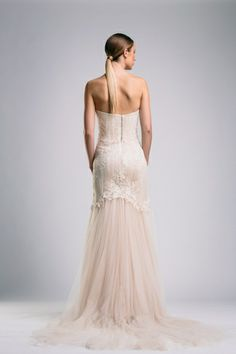 Suzanne Harward couture gown featuring Chantilly lace and soft silky tulle train