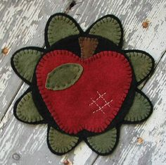 apple mat, cute for the tops of the wooden barrels in the living room ~ could make them in any size!