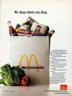 McDonalds Brand Name Foods 1988 Ad Picture Retro Advertising, Retro Ads, Vintage Advertisements, Vintage Ads, Vintage Food, Mcdonalds Fast Food, Mcdonald's Restaurant, Fast Food Chains