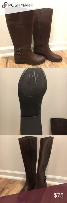 Ralph Lauren Leather Macelyn Riding Boots (NWT) NEVER WORN. Excellent condition. Ordered the wrong size and waited too long to return. Still in the box (box is a bit beat up, but the boots are brand new). Lauren Ralph Lauren Shoes