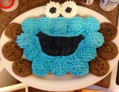 Follow Chef Delainey for more fun and yummy ideas - watch her videos on youtube - Cookie Monster cupcake cake