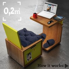 How about that? Your own mini transportable work space with safe. Take it out and place it somewhere comfy when you need to work; pack it up and put it on the shelf when you are away! #brilliant