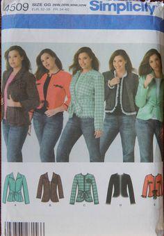 Short Jacket Sewing Pattern/ Simplicity 4509/ Women's/Women's Petite Plus Size 26, 28, 30, 32/Open Wrap Front, Belts, Waist Hip Length/Uncut by RedWickerBasket on Etsy