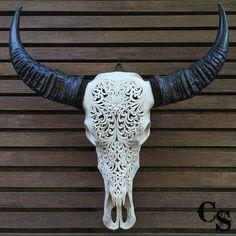 Hand Carved Longhorn Buffalo Skull Head Lotus by CarvedSkulls