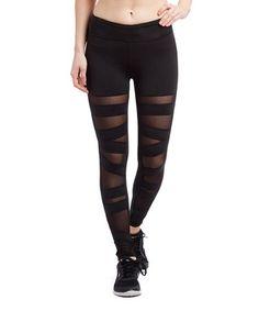 Look at this #zulilyfind! Black Mesh Panel Ballerina Lace-Up Leggings #zulilyfinds
