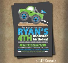 Monster Truck Birthday Invitation Chalkboard Monster by LIFEvents