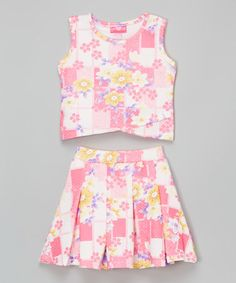 Look what I found on #zulily! Pink Floral Tulip-Hem Top & Pleated Skirt - Toddler & Girls #zulilyfinds
