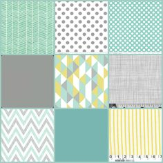 Made to Order Baby Bedding - 3 Piece Grey, Turquoise, Mint, Yellow