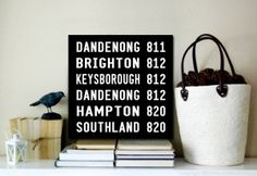 Dandenong $22.00–$567.00 This is a modern version of the tram and bus destination scroll designs featuring Dandenong, Victoria. This canvas print is Australian made using premium quality materials and is created to last.  http://www.canvasprintsaustralia.net.au/  #photosoncanvas #Canvasprints #Canvasprinting