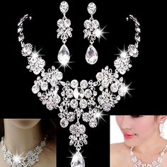Bridal necklace earring brac set Perfect for the bride or the bridesmaids 18 karat over sterling silver high-quality semi precious stones guaranteed to make heads turn or your money back Jewelry Necklaces