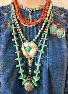 Bohemian Jewelry, Beaded Jewelry, Beaded Necklace, Leather Jewelry, Vintage Jewelry, Cowgirl Style, Cowgirl Fashion, Cowgirl Bling, Estilo Hippy