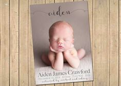 Fancy NAME BIRTH ANNOUNCEMENT  Photo Baby by babybaloo on Etsy Boy birth announcement Girl birth announcement   baby announcement