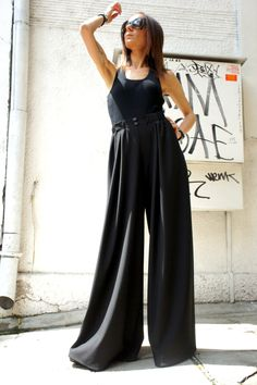 Loose  Black Pants / Wide Leg Pants Spring / Summer  Collection A05045 by Aakasha on Etsy https://www.etsy.com/uk/listing/275618862/loose-black-pants-wide-leg-pants-spring