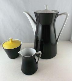 Kaffeekanne Milchkännchen  Zuckerdose   schwarz-weiss-gelb ★Schirnding★ 50er Jah