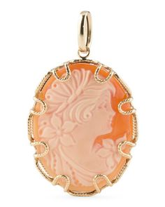 Made In Italy 14k Gold Cameo Textured Link Pendant