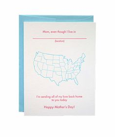 Greenwich Letterpress Mother's Day Map- fun idea. Make one with a world map.