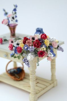Flower Arrangers Table 1/12th scale by TheMiniatureGarden on Etsy, £85.00