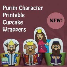 We love this idea...Purim Character Cupcake Wrappers...#dreideljams #purim