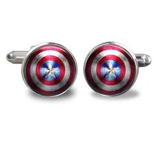 Captain America Shield Cufflinks, Captain America Cufflinks, Mens Cufflinks, Accessories for Men, Movie Cufflinks